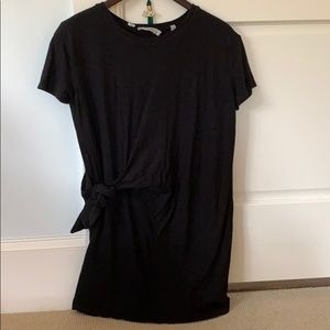 Black Tee Shirt Dress with knot tie